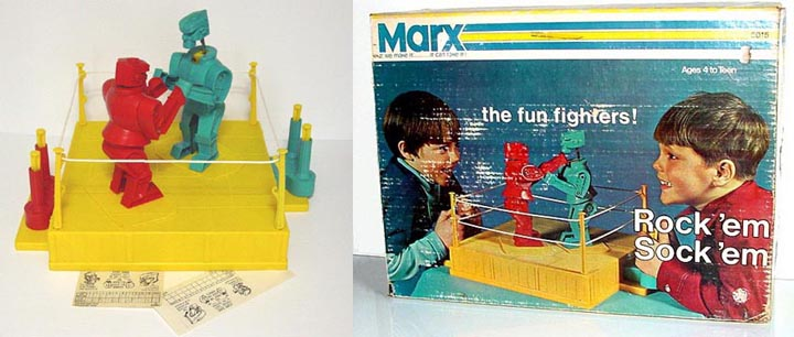 Early 1970s Rock' em Sock'em. Robots by Marx in box. Missing 1Ring Rope